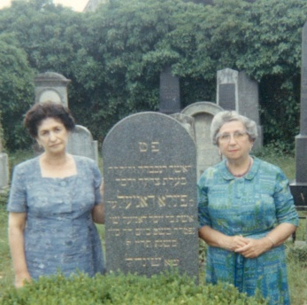 My grandmother, Josephine Daniel, and her sister Sommer, at their mother's tombstone.