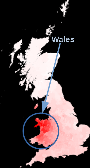 Jones surname distribution map Wales